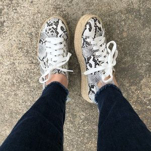 Shoes - NEW! Snakeskin platform espadrille sneakers